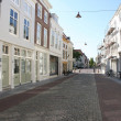 Old houses and street in Middelburg - Stock Photo