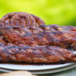 Stack of barbecue pork spare ribs — Stockfoto