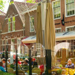 Restaurants in the streets and Old houses Veere — Stock Photo