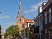 Old Church and street in Domburg — Stock Photo