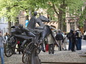 Statue of the Horse Carriage in Bruges — Stock Photo