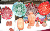 Decorative clay plates and ocarina Moldova — Stock Photo