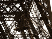 Eiffel Tower detail the old lift. Paris, France — Stock Photo