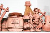 Decorative statuette of Moldavian and barrels — Stock Photo