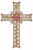 Zlatý kříž s červeným prvkem — Stock fotografie