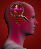 Profile of a man with close up of magnifying glass on MADMAN — Stock Photo