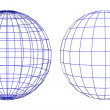 Wireframe of two spheres — Foto Stock