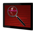 Close up of magnifying glass on furios — Stock Photo #28854837