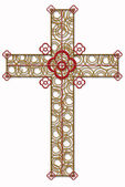 Golden cross with red element — Stock Photo