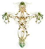 Green Floral Cross on white — Foto Stock