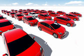 Hundreds of red cars, One white — Stock Photo