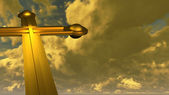 Cross made from gold — Stock Photo