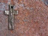Cross on the wall — Stock Photo