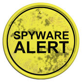 A yellow and black sign with the word Spyware alert — Stock Photo