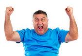 快乐的人用双手向上举起的肖像 — 图库照片
