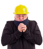 Portrait of a worker suffering cold — Stock Photo