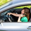 Young woman with hand on steering wheel using mobile phone — Stock Photo #27276125