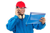 Worker talking on the phone — Stock Photo