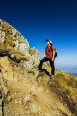Hiker enjoying view — Stock Photo