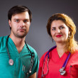 Foto Stock: Portrait of two doctors with stethoscope