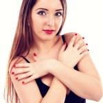 karşılamak için kollarını onun brest geçerken güzel genç kadın — Stok fotoğraf