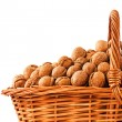 Stock Photo: Walnuts in wicker basket