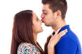 Closeup portrait of a happy young couple in love isolated on whi — Stock Photo