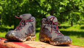 Pair of muddy boots — Stock Photo