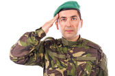 Young army soldier saluting isolated — Stock Photo