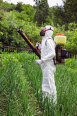 Man in full protective clothing spraying chemicals — Stock Photo