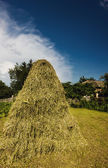 Haystack in the rays of the evening sun — Stock Photo