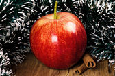 Red winter apple with cinnamon sticks — Stock Photo
