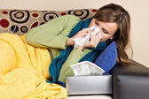 Young woman at home having flu — Stock Photo