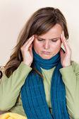 Young woman having a strong headache — Stock Photo