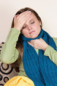 Ill woman at home having flu — Stock Photo