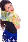 Portrait of a beautiful belly dancer wearing shawl  — Stock Photo