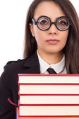 Closeup portrait of a young serious teacher with glasses  — Stock Photo