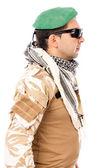 Soldado com a boina verde e óculos — Fotografia Stock