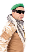 Soldier with green beret and glasses — Stock Photo