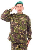 Young army soldier saluting — Stock Photo