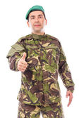 Young army soldier with thumb up — Stock Photo