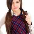 Portrait of upset teenager showing her fist — Stock Photo #46414603