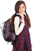 Portrait of student with  backpack isolated on white background — Stock Photo