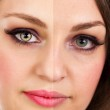 Face of beautiful woman before and after retouch — Stock Photo #49702669