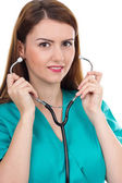 Portrait of a young female doctor with stethoscope — Stock Photo