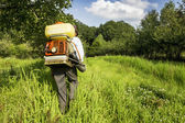 Senior  farmer spraying the orchard — Stock Photo