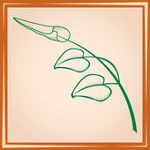 Three leaves on branch in frame — Stockvector