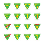 Icon set Green triangles ecology — Stockvector