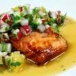 Stock Photo: Salmon with orange salsa