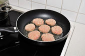 Raw meatballs in a frying pan — Stock Photo
